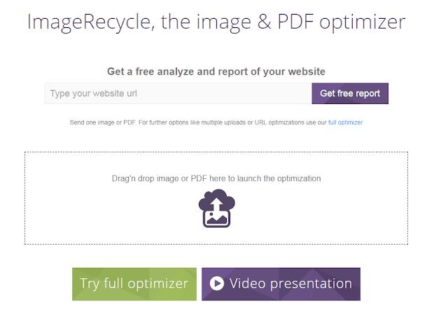 صورة لموقع imagerecycle لضغط حجم الصور مع الحفاظ علي جودتها