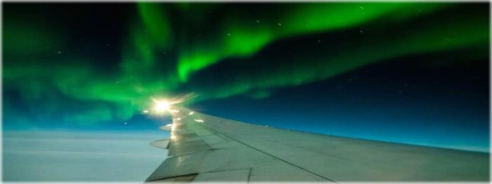 auroras boreais vistas de avião - é mais fácil?
