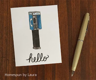 homespun by laura, watercolor, phone booth, notecard, hello, stationery