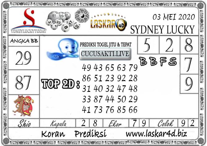 Prediksi Sydney Lucky Today LASKAR4D 03 MEI 2020