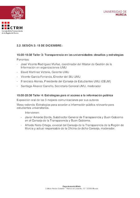 "I Jornadas: ""Retos para una sociedad transparente""."