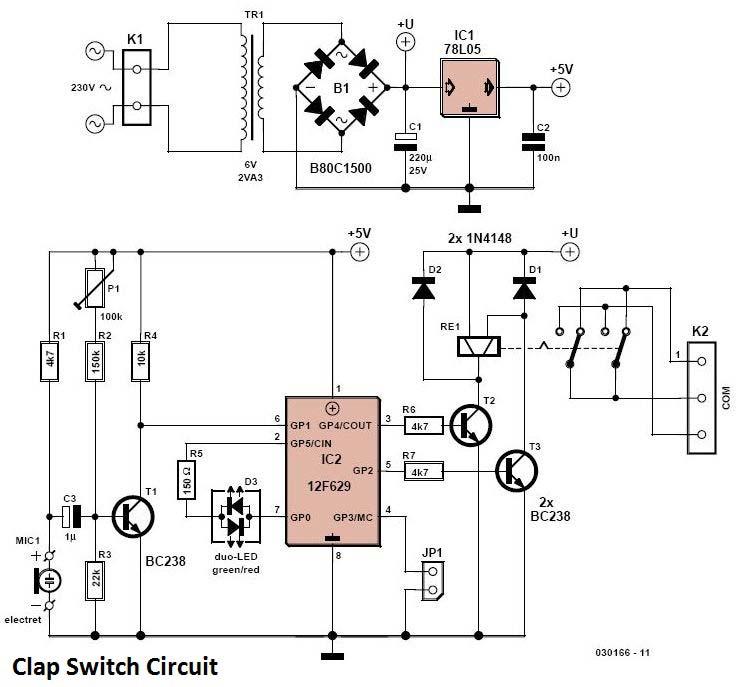 rangkaian saklar tepuk  clap switch circuit