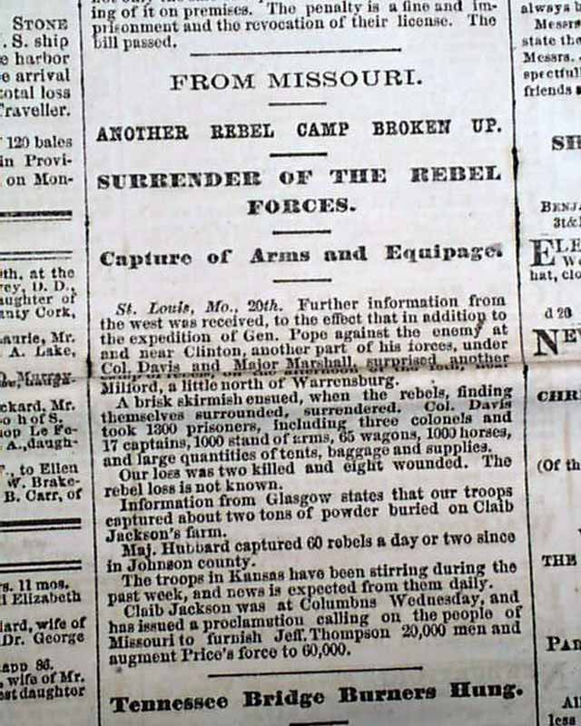 Johnson County And Western Missouri History: Battle Of