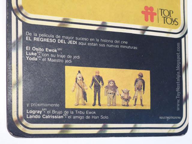 TOP TOYS detalle del back - El Regreso del Jedi - Argentina
