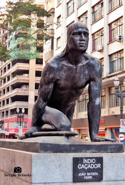 Close-up da Escultura Índio Caçador - Republica - São Paulo