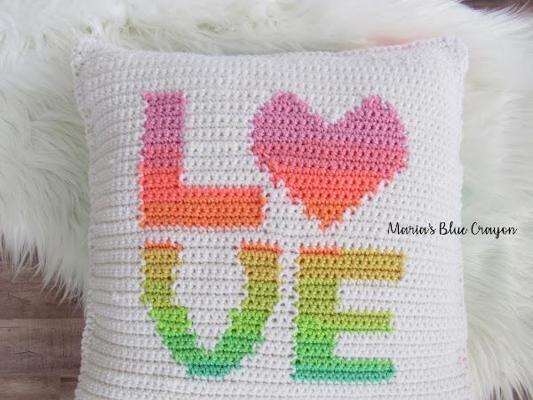 Crochet LOVE Pillow Cover
