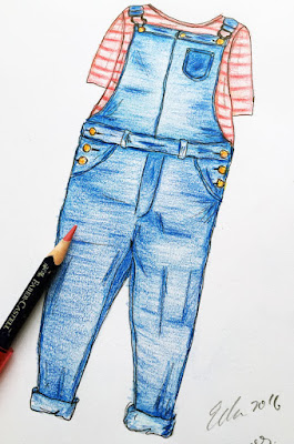 paper doll, dungarees, fashion illustration, dress me up, little curly, little curly the eco-friendly girl