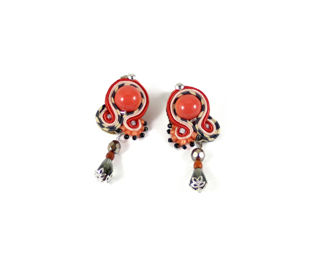 soutache earrings, soutache handmade jewelry  orange and grey strip soutache cord earrings for everyday,