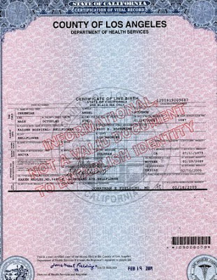 Find Sample Of State California Certification Vital Record County Los Angeles Birth Certificate