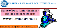 Eastern Railway Recruitment 2017 - Junior Engineer (P.Way), Junior Engineer (Works)
