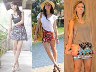 mini saia com estampa étnica - fotos e modelos