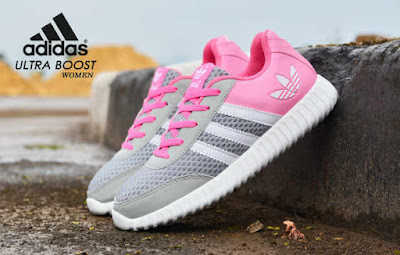 Sepatu Adidas Ultra Boost Women Grey Baby Pink