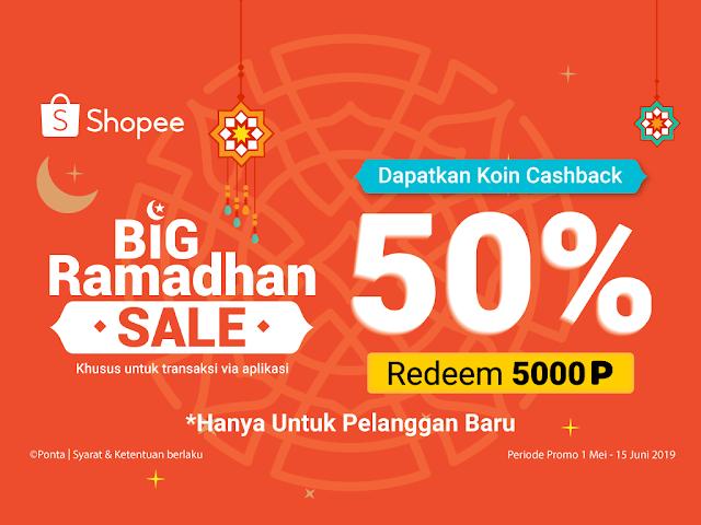 #Ponta - #Promo Special Sale Ramadhan Redem Cashback 50% Shopee Koin (s.d 15 Juni 2019)