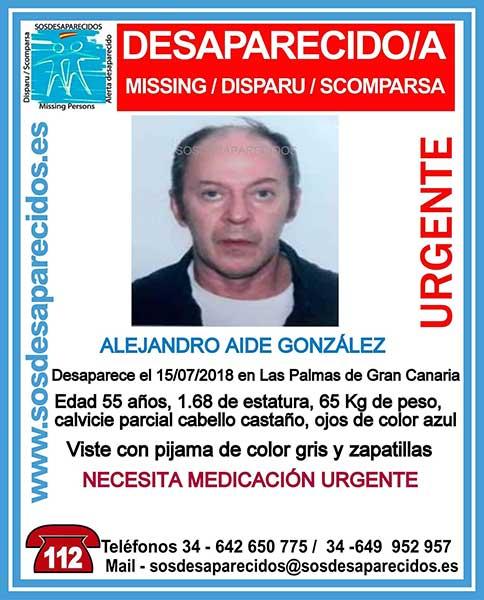 Alejandro Aide Gonzalez, hombre desaparecido en Las Palmas de Gran Canaria que necesita medicación urgente