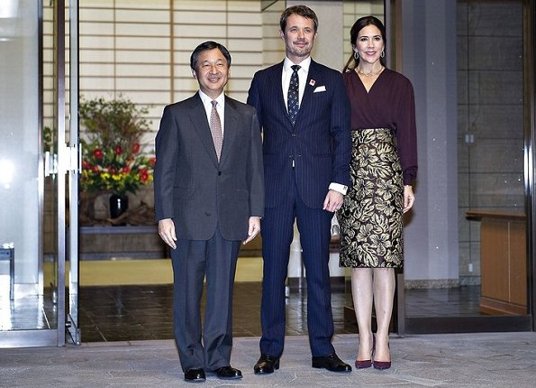 Crown Princess Mary wore Prada Metallic floral jacquard skirt. Crown Princess Masako and Prince Naruhito