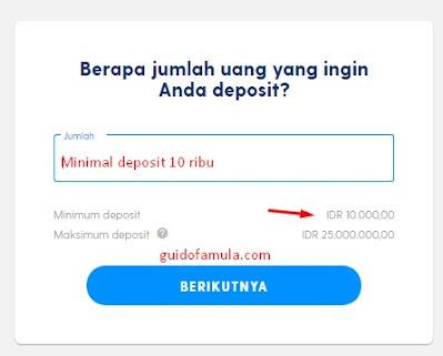 minimal deposit bisa dilakukan dengan 10 ribu