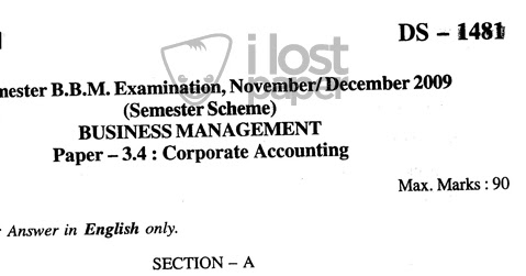 Corporate Accounting Question Paper 2009