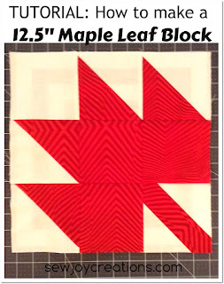 make 12 inch maple leaf patchwork block with this tutorial