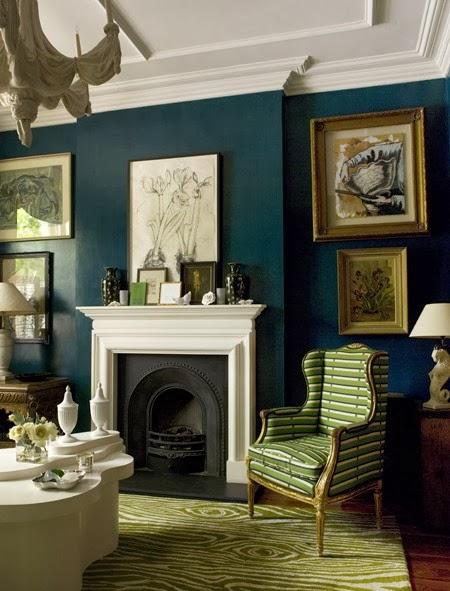 Traditional Living Room Paint Colors: Kobieca Kraina: Granatowe Wnętrza