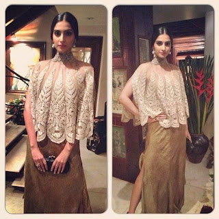 Sonam in Anamika Khanna Outfit, sonam wears anamika khanna couture, anamika khanna outfit