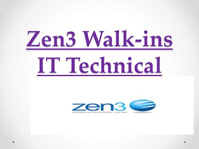 Zen3 Info Solutions Walkins - IT Technical Recruiter | 23rd & 24th July 2018| Hyderabad