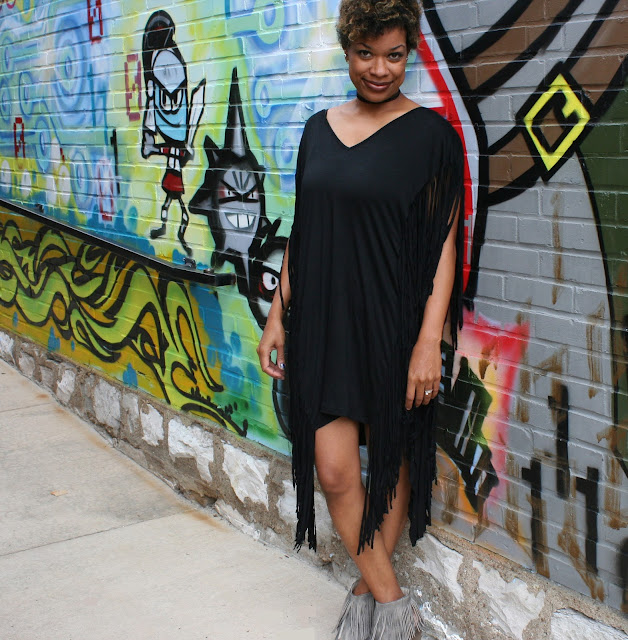 black fringe tobi dress