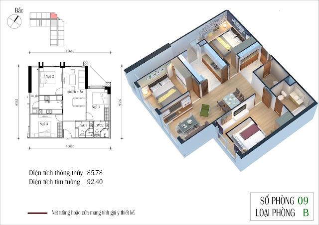 Thiết kế căn 09 tòa CT2 Eco Green City