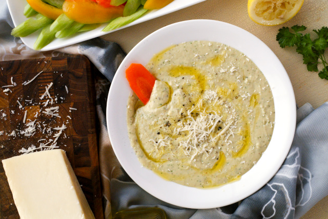 White Bean Dip that is made extra special with the addition of pecorino romano cheese!