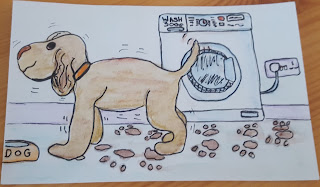 A Postcard I sketched recently of a muddy dog in a Kitchen