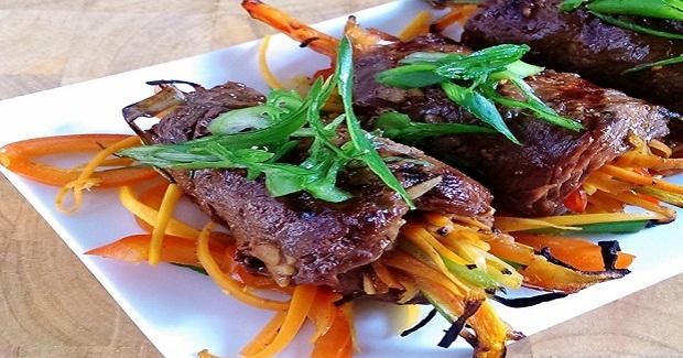 Gluten Free Asian Beef Vegetable Wraps Recipe