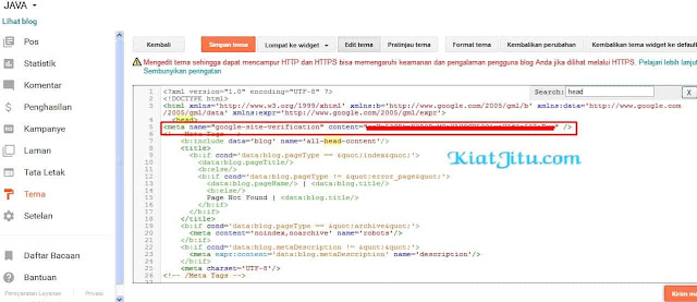 VERIFIKASI TAG HTML DI WEBMASTER TOOL BAGI PEMULA www.kiatjitu.com