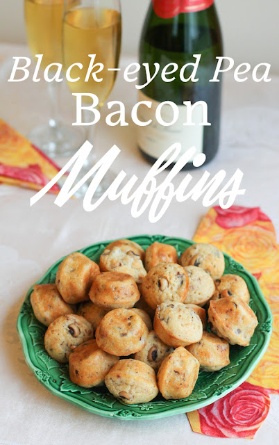 Food Lust People Love: These savory little black-eyed pea bacon cocktail muffins would be a deliciously easy appetizer for any holiday party, but I highly recommend them for New Year's Eve or Day, where they also promise to bring your guests good luck! They are baked with black-eyed peas and plenty of crispy bacon inside, with onions and garlic and a little peppery zip from cayenne and freshly ground black pepper.