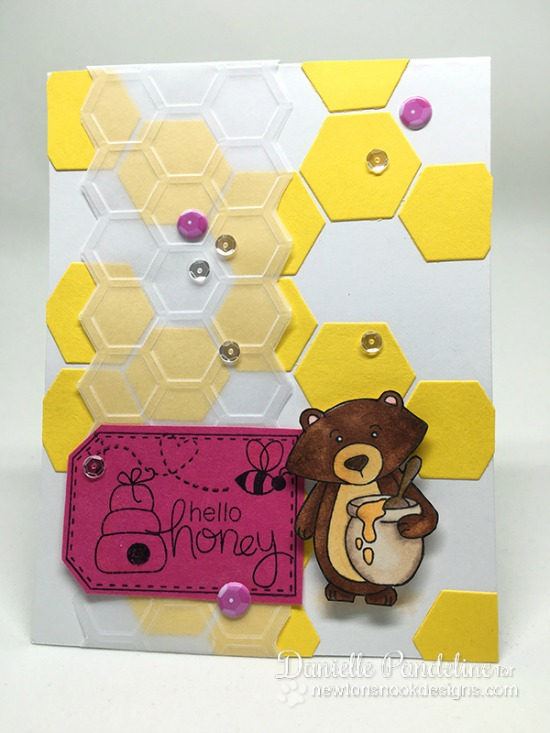 Hello Honey Bear card by Danielle Pandeline | Winston's Honeybees stamp set by Newton's Nook Designs #newtonsnook #bee