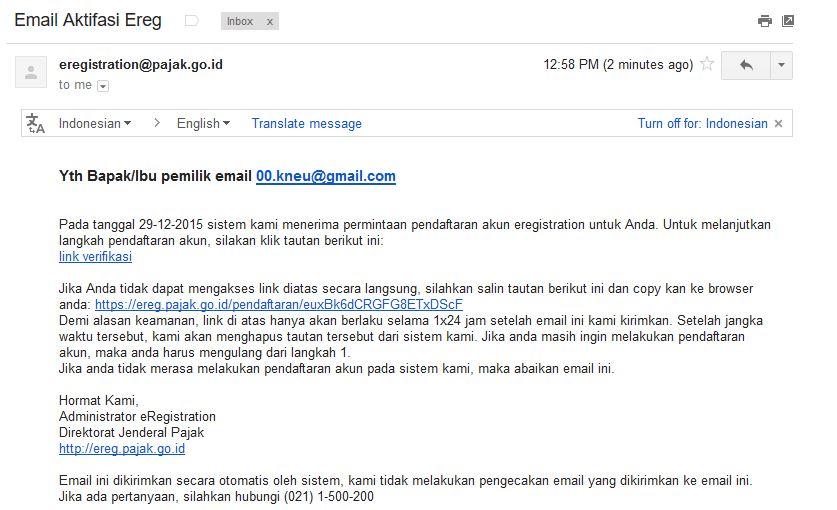 email ereg pajak online langkah 1 dan 2