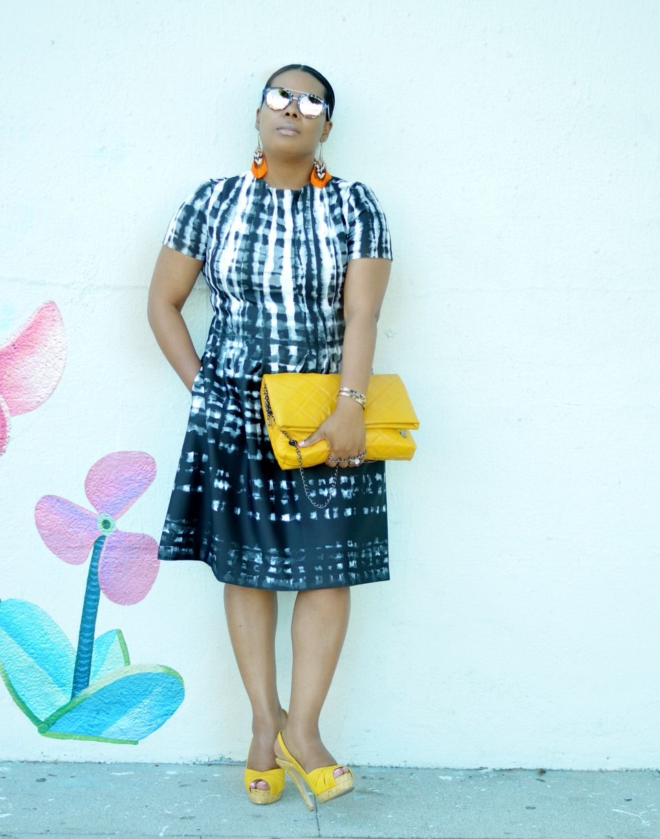 Vince Camuto Scuba Dress_Aldo Clutch_AnnTaylor_Loft_Sunglasses