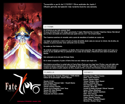 Fate Zero Anime streaming por Nico Nico Douga