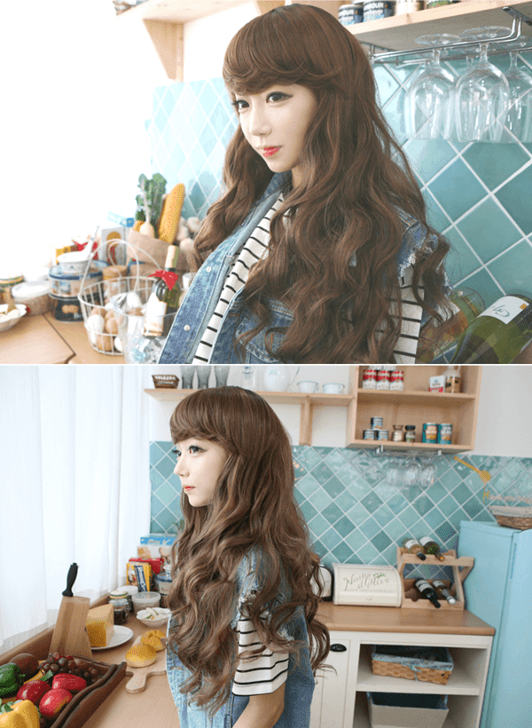 Korean Fashion Beauty Wig - Barbie Glam Color Gold Brown Model 2