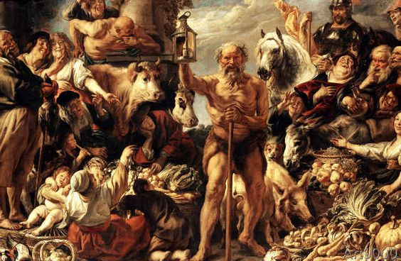Jacob Jordaens - Diogenes seeks people at the market using his lamp