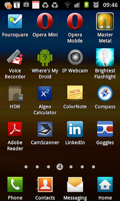 Foursquare, Opera Mini, Opera Mobile, Voice Recorder, IP Webcam, Brightest Flashlight, Algeo, ColorNote, Compass, Adobe Reader, CamScanner, LinkedIn, Goggles