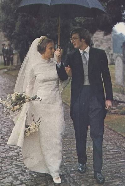 Margaret S Wedding Dress For Birgitte Hartnell Created A Very 1970s With The High Collar Simple Skirt And Small Train Long Sleeves All