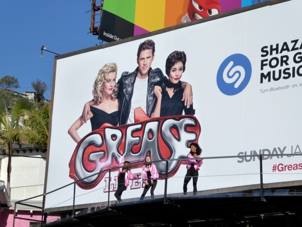 Pink Ladies Grease Live dancing billboard