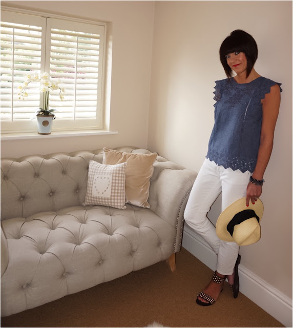My Midlife Fashion, Boden Broderie top, White cigarette length zara distressed jeans, ash moon studded sandals, h and m straw panama hat