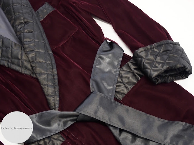 velvet mens dressing gown long quilted shawl collar victorian style dandy dark red burgundy classic housecoat gentleman