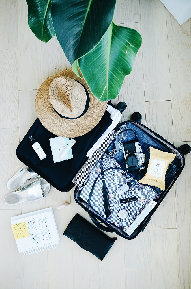 Flatlay of suitcase