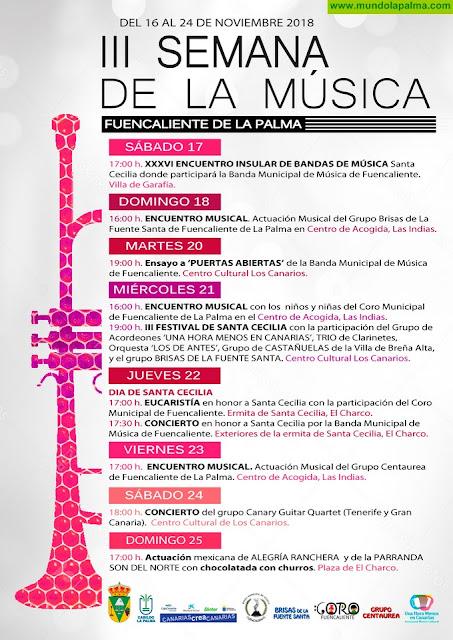 Programa de actos de la III Semana de la Música de Fuencaliente