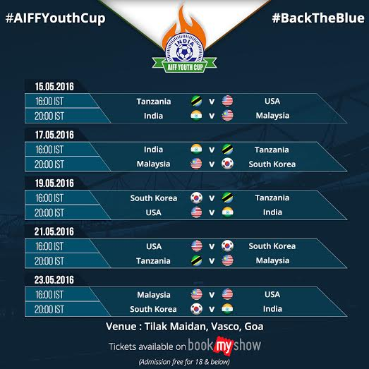 Fixtures list of AIFF Youth Cup 2016