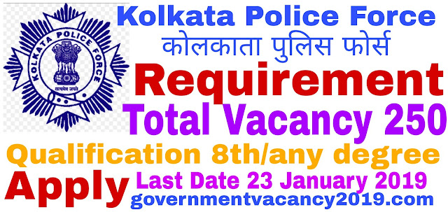 Kolkata Police Recruitment 2019 for Civic Volunteers  250 Posts  Last Date 23 January 2019 governmentvacancy2019.com