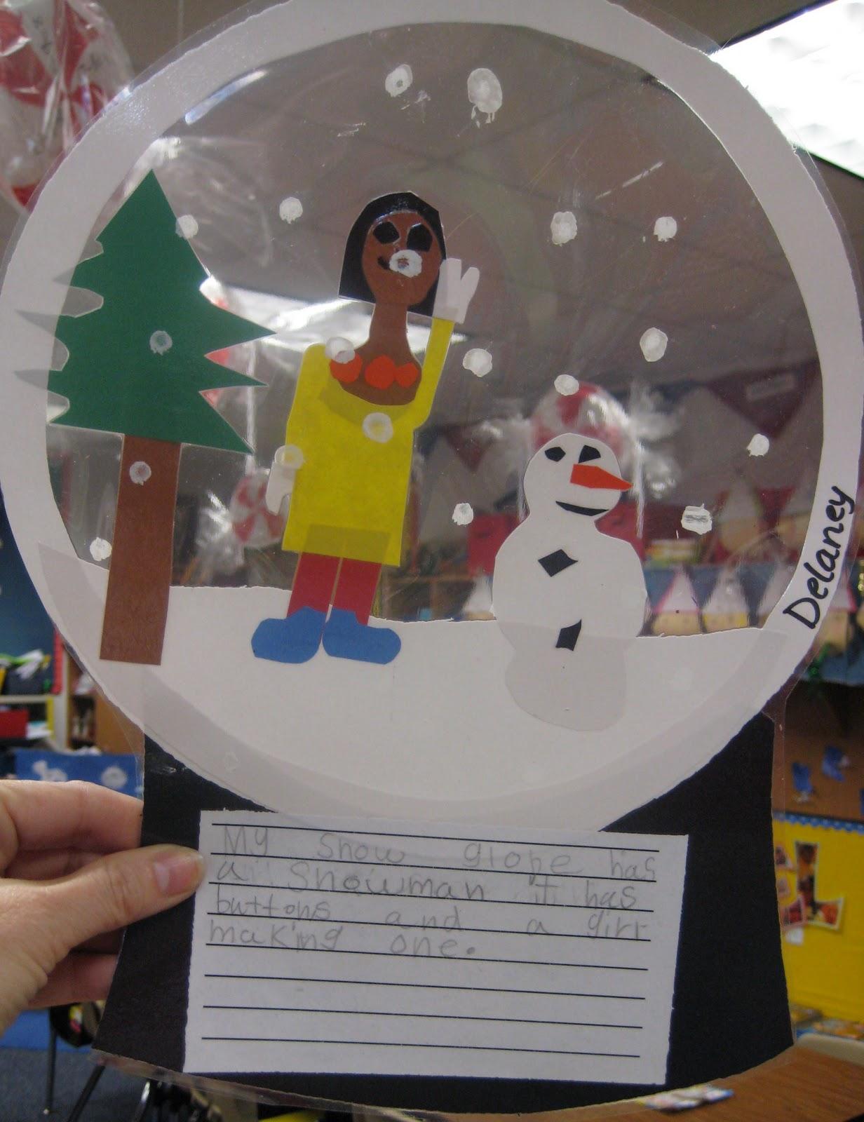 Stuck in a snow globe writing activity for kindergarten