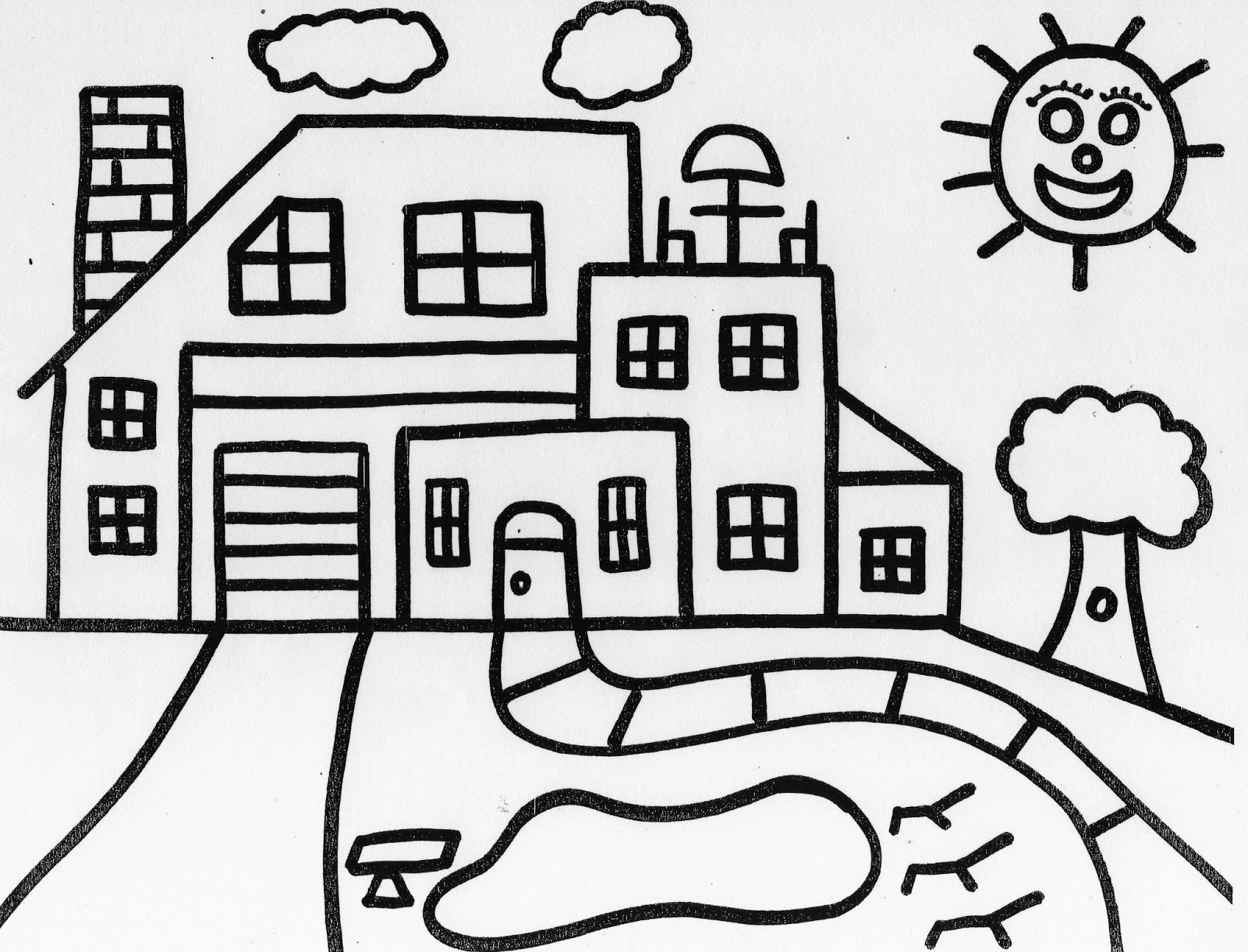 colours drawing wallpaper: Beautiful kids House Coloring
