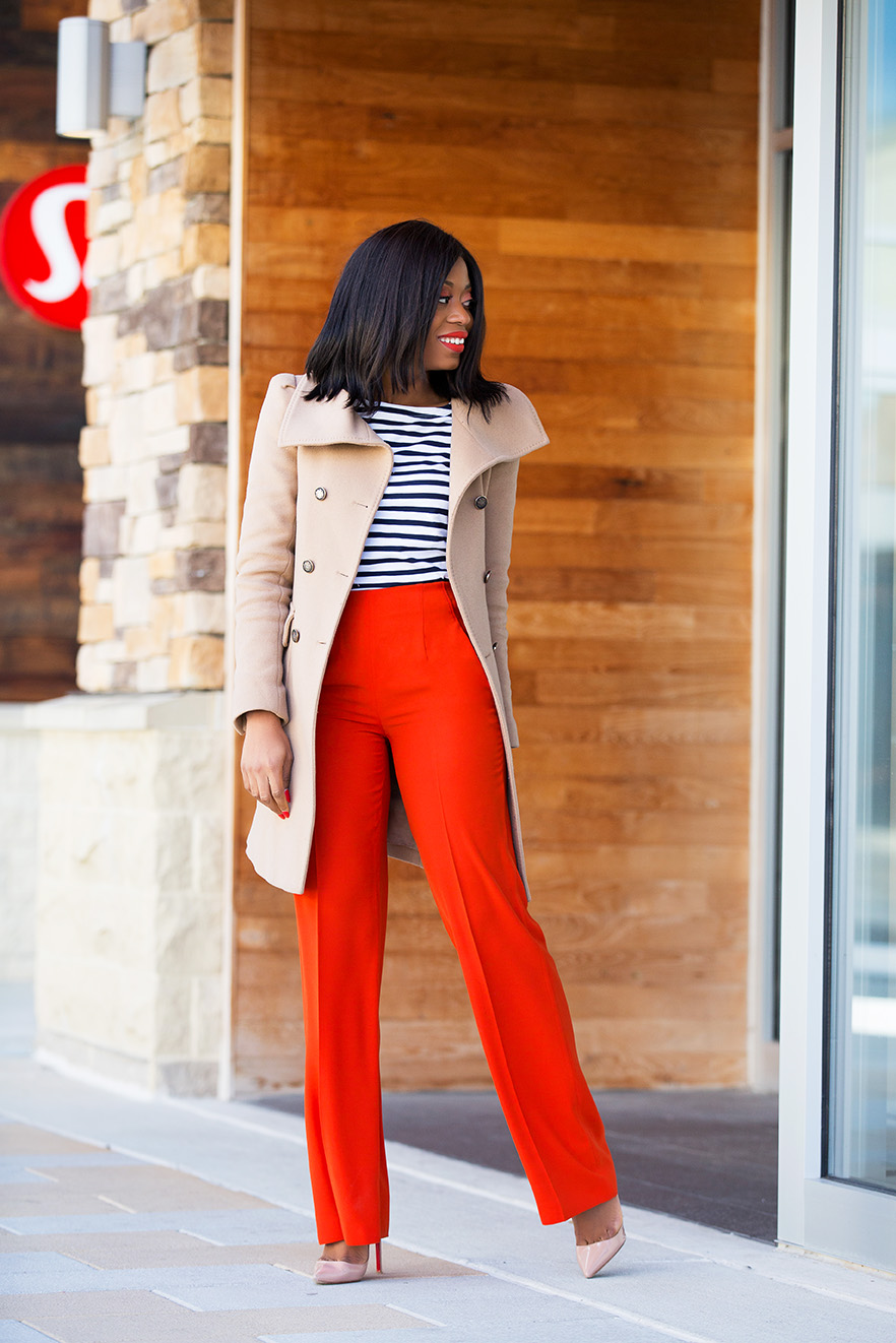 High-waisted and wide leg pants, stripe top, trench coat, www.jadore-fashion.com